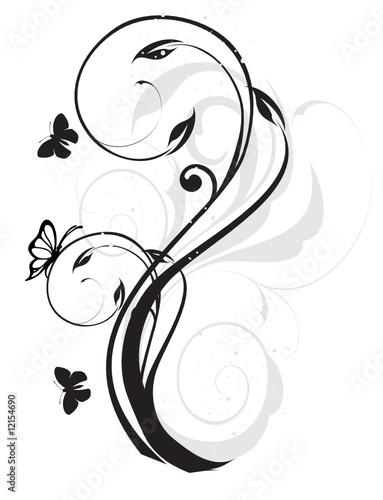Photo arabesque floral noir et gris papillons