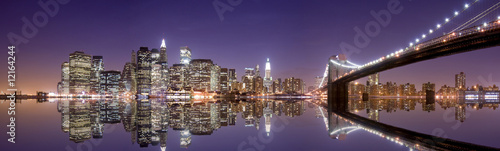 New York skyline and reflection at night