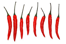 Red Chili Peppers Isolated Over White