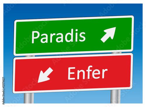 """Photo  Panneaux """"Paradis"""" et """"Enfer"""""""