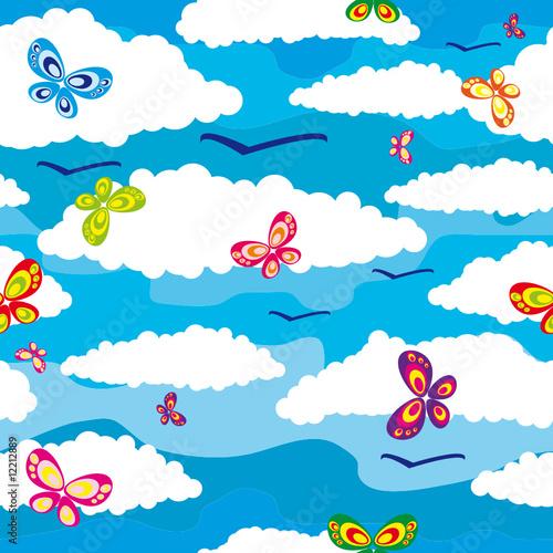 Papiers peints Ciel Seamless background with butterflies