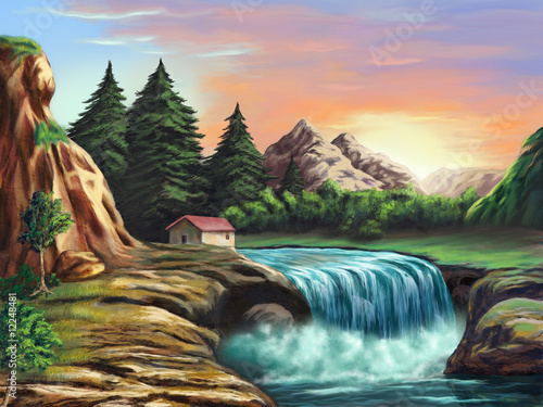 Acrylic Prints Green blue Fantasy landscape