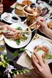 Family dinner in asian restaurant