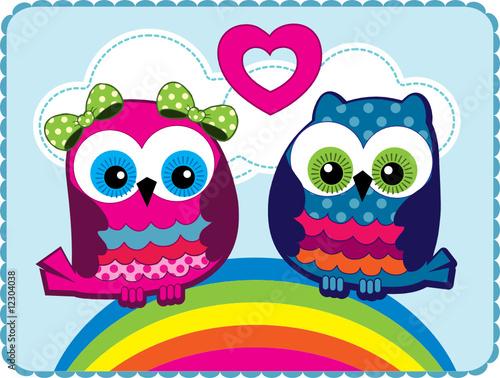 In de dag Regenboog Owls in love
