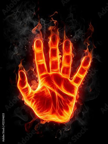 Aluminium Prints Flame Fire hand