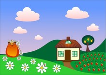 Landscape With A Small Cottage, Home Cat, Strawberry Glade.