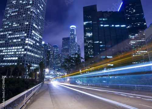 Aluminium Prints Los Angeles Traffic in Los Angeles with traffic seen as trails of light