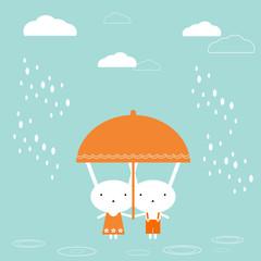 FototapetaTwo bunnies under umbrella
