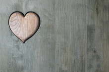 Carved Wooden Heart In Door