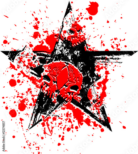 Red Black Skull Star