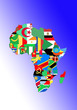 canvas print picture - symbolic image: Africa: outline and flags