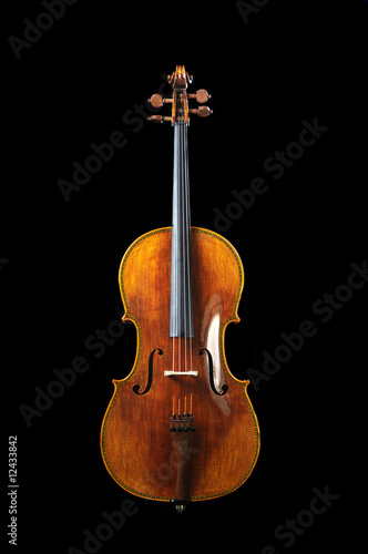 Photo cello on a black background