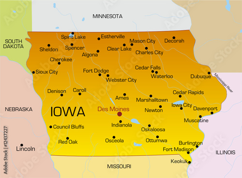 Vector color map of Iowa state. Usa - Buy this stock vector ...