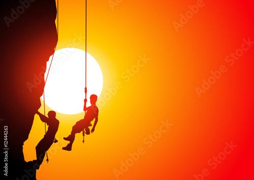 Fototapeta Climbers at sunset obraz