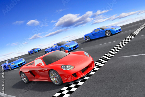 Deurstickers Snelle auto s Winner concept. Hi-res 3d rendering.