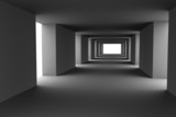 Tunnel with changing light and dark stripes Hi-res 3d