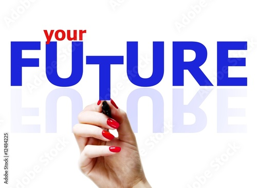 Photo  Woman's hand holding the 'your future' words