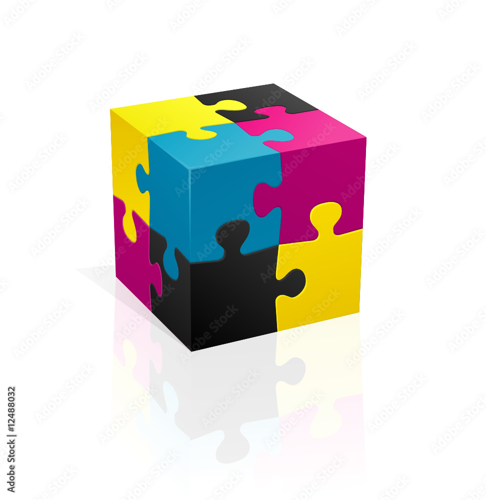 Fototapeta CMYK puzzle cube