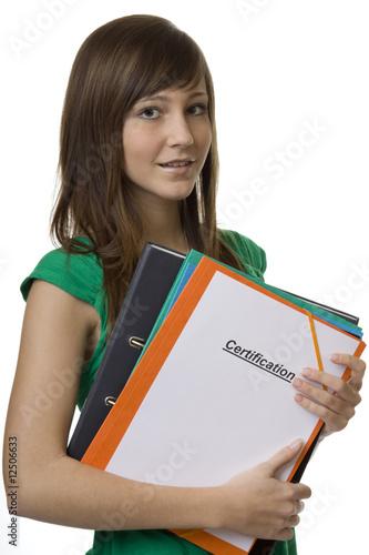 Studentin mit Mappe Certification Canvas Print