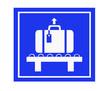 Leinwandbild Motiv blue luggage sign
