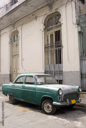 Deurstickers Cubaanse oldtimers Old Car, Havana, Cuba