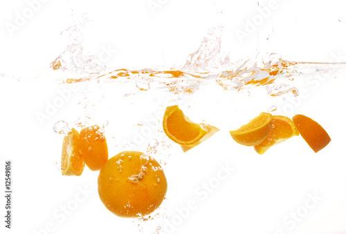 Poster Eclaboussures d eau splashing fruits