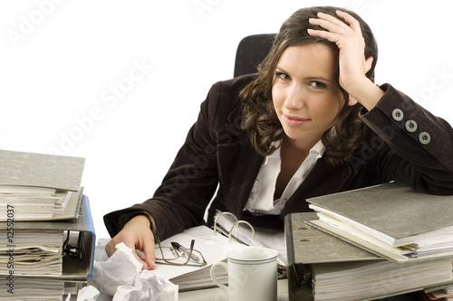 Valokuva  Gestresste Geschäftsfrau