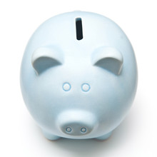 Blue Piggy Bank Isolated On A ...