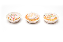 Cup Cakes  Isolated On A White...