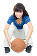 Asian woman playing with ball