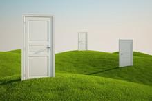 Grass Field With Doors