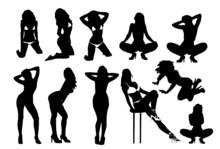 Set Of Vector Girls In Lingerie