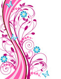 Spring background with pink and blue flowers