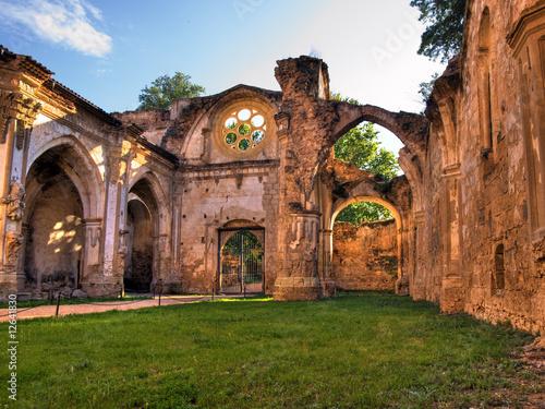 Old Burned Monasterio de Piedra in Zaragoza, Spain