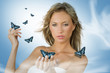Leinwanddruck Bild girl with butterfly