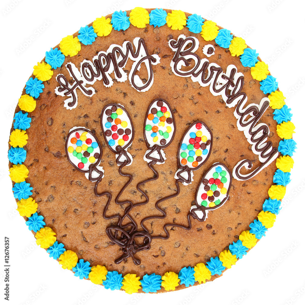 Magnificent Large 18 Inch Cookie Cake With Happy Birthday In Icing Wall Mural Personalised Birthday Cards Veneteletsinfo