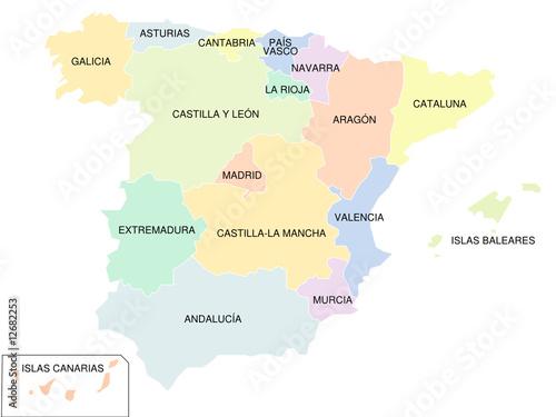Spanien Regionen Karte.Spanien Karte Der Autonomen Regionen Farbig Buy This Stock