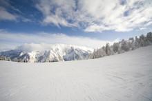 Ski Slope In Italian Dolomites