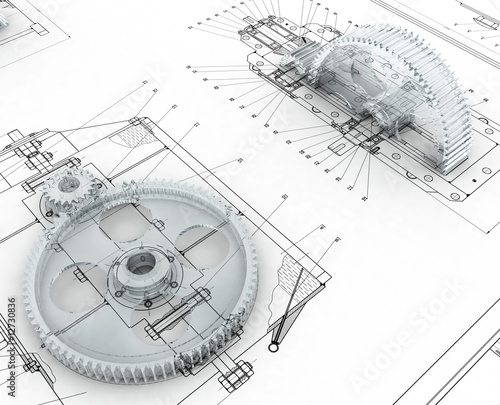 mechanical sketch with gears