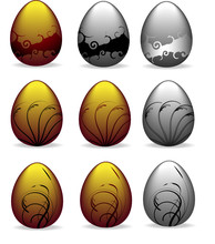 Set Of Golden And Silver Ornately Decorated Easter Eggs