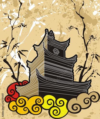 chinski-pagodowy-abstrakcjonistyczny-tlo-tradycyjny-obraz-wektor