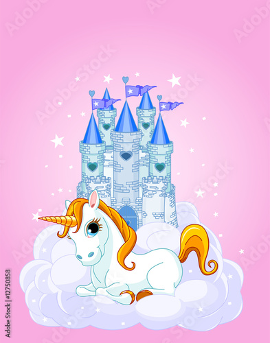 Tuinposter Pony Castle and Unicorn