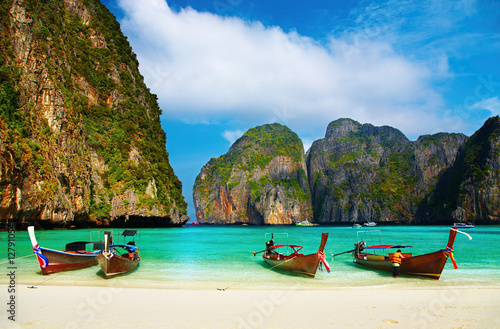 Tropical beach, Maya Bay, Thailand Canvas Print