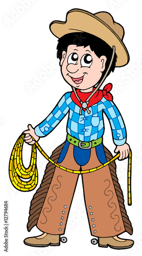 Aluminium Prints Wild West Cartoon cowboy with lasso
