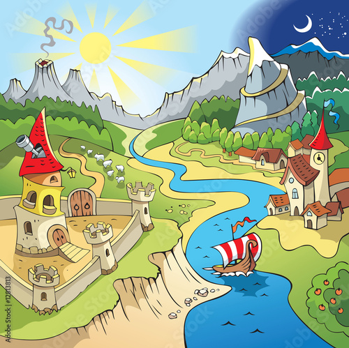 Photo Stands Castle Fairy tale landscape, wonder land, castle and town, cartoon