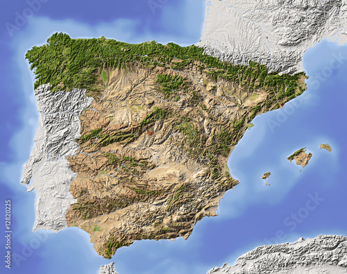 Fototapeta Spain, shaded relief map, colored for vegetation