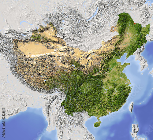 China, shaded relief map, colored for vegetation