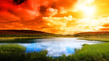 Panel Szklany Podświetlane Wschód / zachód słońca north lake