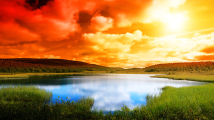 Panel Szklany Wschód / zachód słońca north lake
