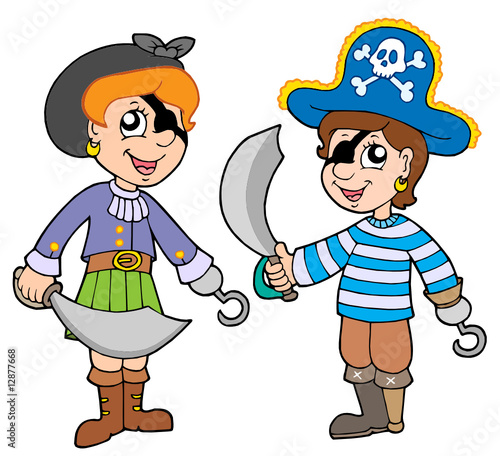 Deurstickers Piraten Pirate boy and girl